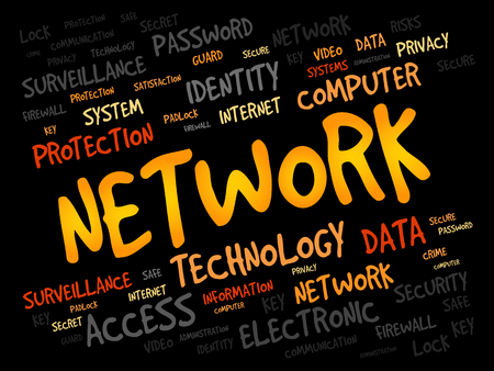 cyber defence: NETWORK word cloud, business concept Illustration