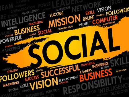 community marketing: SOCIAL word cloud, business concept Illustration