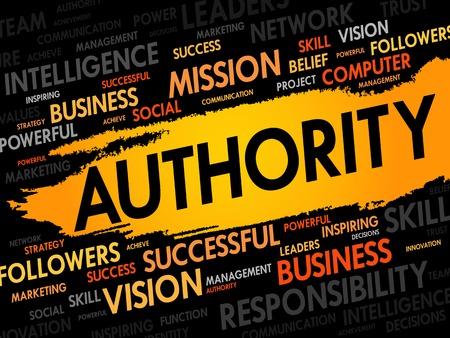 AUTHORITY 단어 구름, 비즈니스 개념