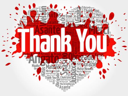 silhoette: Thank You in many languages, love heart vector word cloud background with red splash Illustration