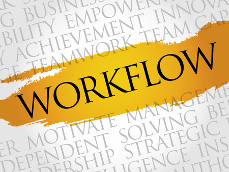 workflow: WORKFLOW word cloud, business concept
