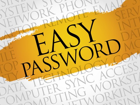 e systems: Easy Password word cloud concept Illustration