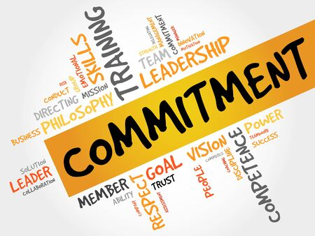 observance: Commitment word cloud, business concept