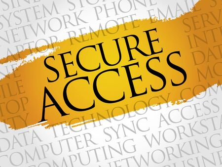technology collage: Secure Access word cloud concept Illustration