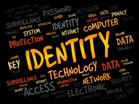 entity: IDENTITY word cloud, security concept Illustration