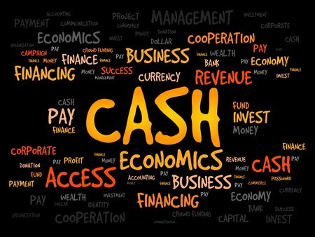 cashflow: CASH word cloud, business concept Illustration