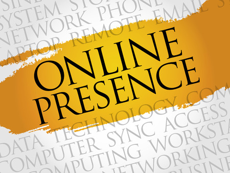 web presence internet presence: Online Presence word cloud concept