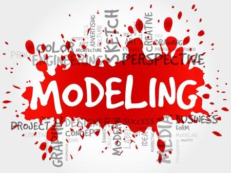 decorum: MODELING word cloud, business concept Illustration