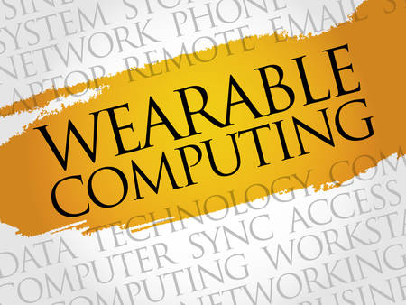 technology collage: Wearable Computing word cloud concept Illustration