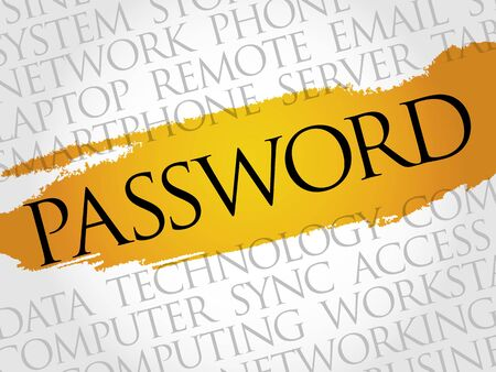 password: Contraseña nube de palabras concepto Vectores