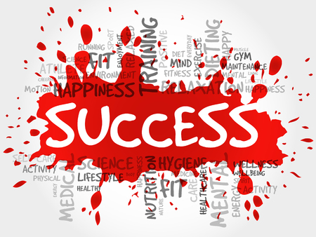 success concept: SUCCESS word cloud, fitness, sport, health concept