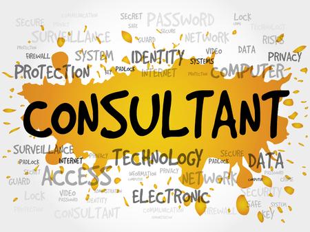 consultant: CONSULTANT word cloud, security concept Illustration