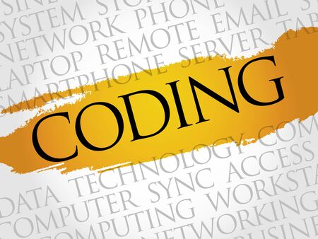 computer instruction: Coding word cloud concept Illustration