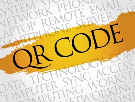qr code: QR code word cloud concept