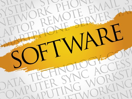 product design specification: Software word cloud concept Illustration