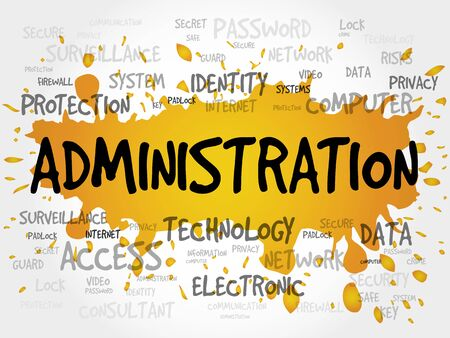 ADMINISTRATION word cloud, security concept Illustration