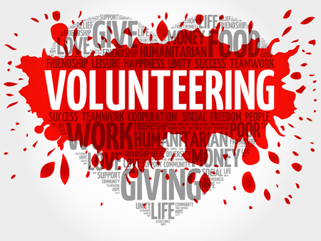 together voluntary: Volunteering word cloud, heart concept