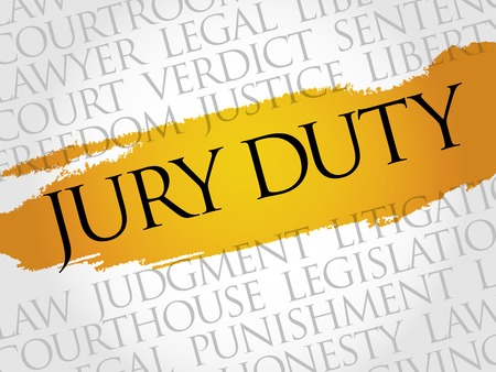 Jury Duty Wort Cloud-Konzept Vektorgrafik