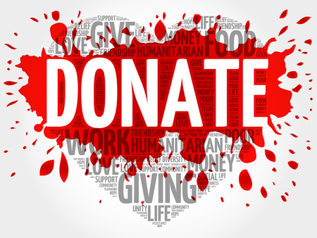 donation: Donate word cloud, heart concept Illustration