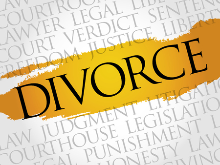 the settlement: Divorce word cloud concept