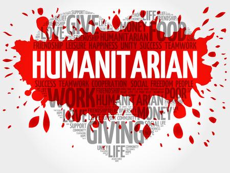 Humanitarian word cloud, heart concept Illustration