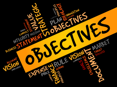 objectives: Objectives word cloud, business concept Illustration