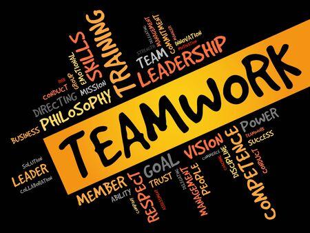 teaming: TEAMWORK word cloud, business concept