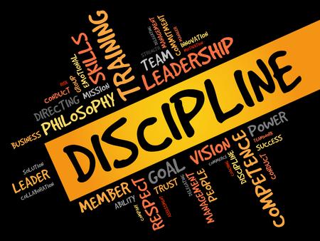 DISCIPLINA nube de la palabra, concepto de negocio
