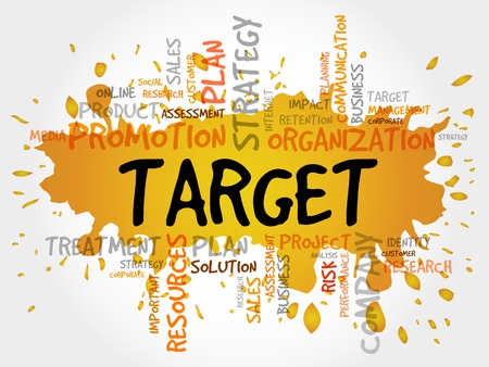 smart goals: Word Cloud with Target related tags, business concept Illustration