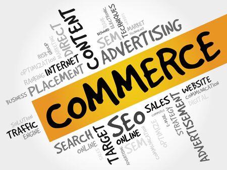 e retailers: COMMERCE word cloud, business concept