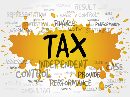 environmental analysis: TAX word cloud, business concept Illustration