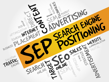 positioning: SEP (search engine positioning) word cloud business concept