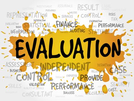 achievable: EVALUATION word cloud, business concept Illustration