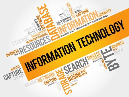 Tecnología de la información nube de la palabra, concepto de negocio