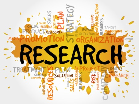 Word Cloud with Research related tags, business concept Illustration