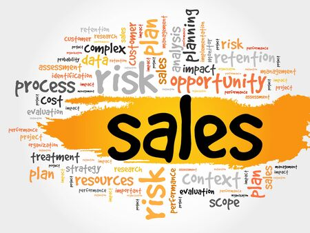 Word Cloud with Sales related tags, business concept Illustration