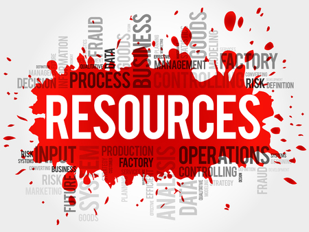 resources: RESOURCES word cloud, business concept Illustration