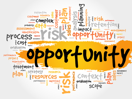 opportunity concept: Opportunity and success word cloud, business concept Illustration