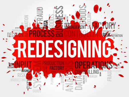 overseeing: REDESIGNING word cloud, business concept