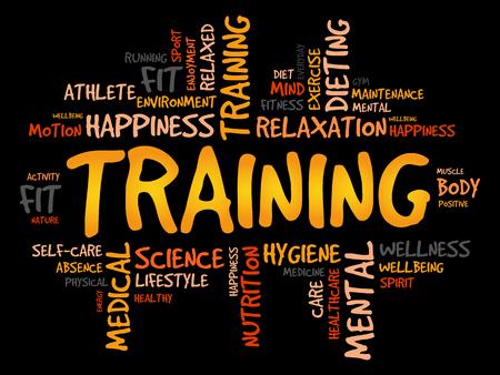 TRAINING Wortwolke, Fitness, Sport, Gesundheit Konzept