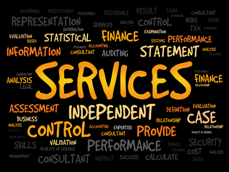 maintainability: SERVICES word cloud, business concept Illustration