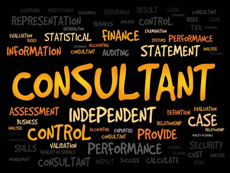 financial consultant: CONSULTANT word cloud, business concept