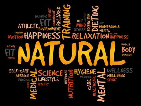 Palabra NATURAL nube, fitness, deporte, concepto de salud