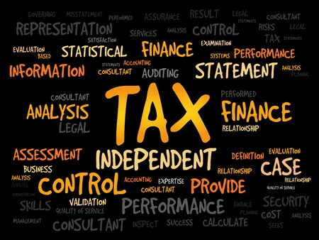 entities: TAX word cloud, business concept Illustration