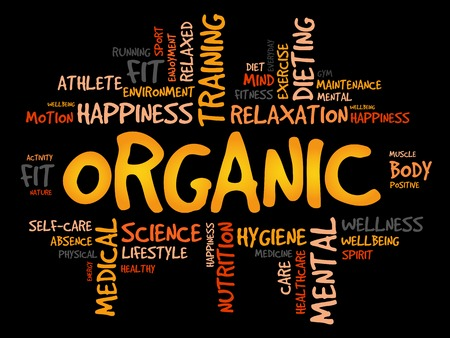 increase fruit: ORGANIC word cloud, fitness, sport, health concept