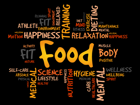 weight loss success: FOOD word cloud, fitness, sport, health concept