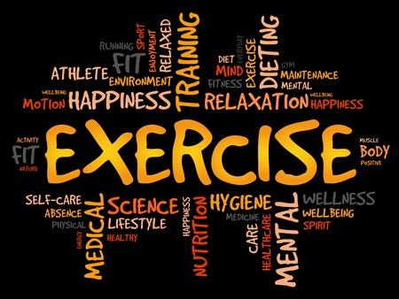 physique: EXERCISE word cloud, fitness, sport, health concept