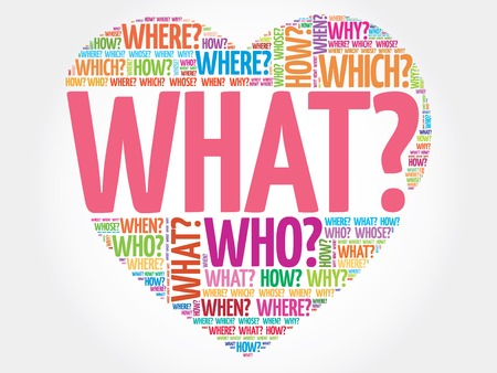What? Question heart, Questions words concept