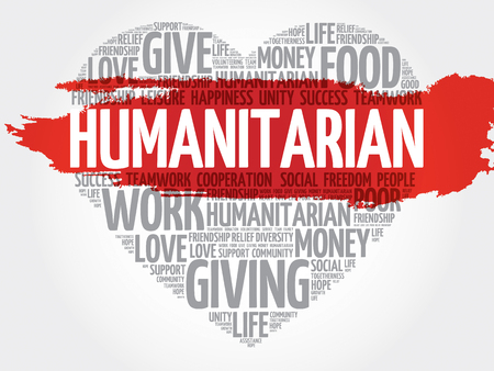 Humanitarian word cloud, heart concept Illustration