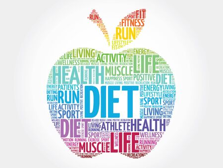 cloud tag: Colorful Diet apple word cloud concept